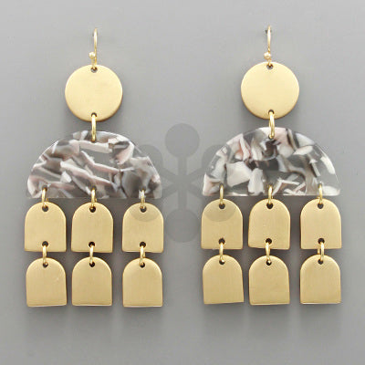 Gold & Gray Linear Acrylic Earrings