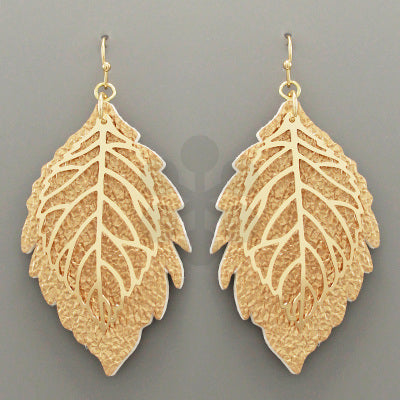 Leather & Gold Leaf Earrings