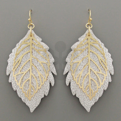 Leather Silver & Gold  Leaf Earrings