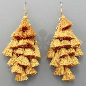 Mustard  Gold Chandelier Tassel Earrings