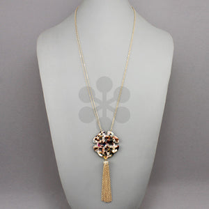 Multi Color Acrylic Filigree Tassel Necklace
