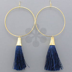 Navy Tassel and Ring Earrings