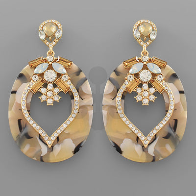 Oval Acrylic and Crystal Statement Earrings
