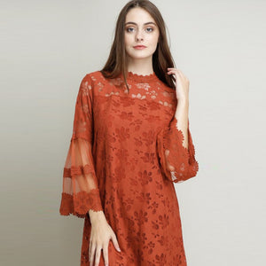 Camille Mock Neck Lace Dress