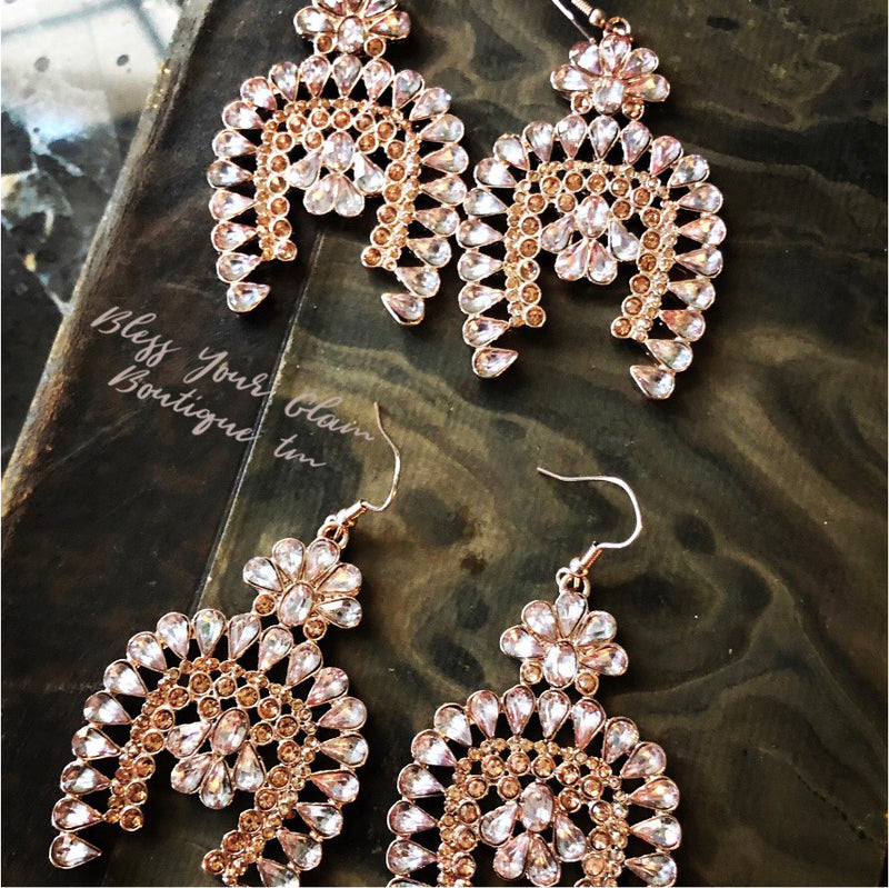 Rhinestone Cowgirl Squash Blossom Earrings