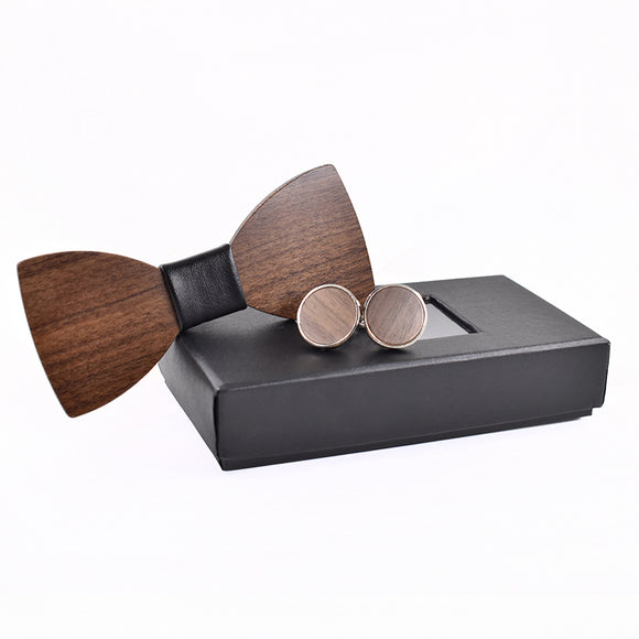 Wood Bow Tie Cufflinks Set