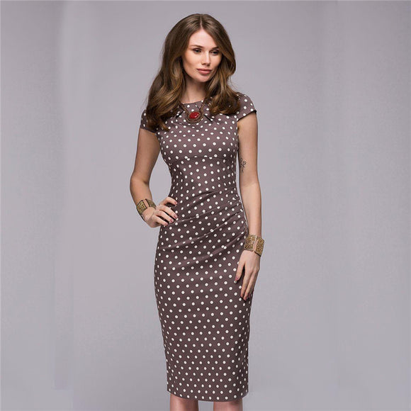 Elegant Vintage Polka Dot Dress Short Sleeve