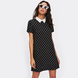 Contrast Collar Polka Dot Straight Dress