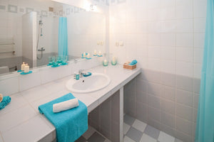 teal bathroom styling