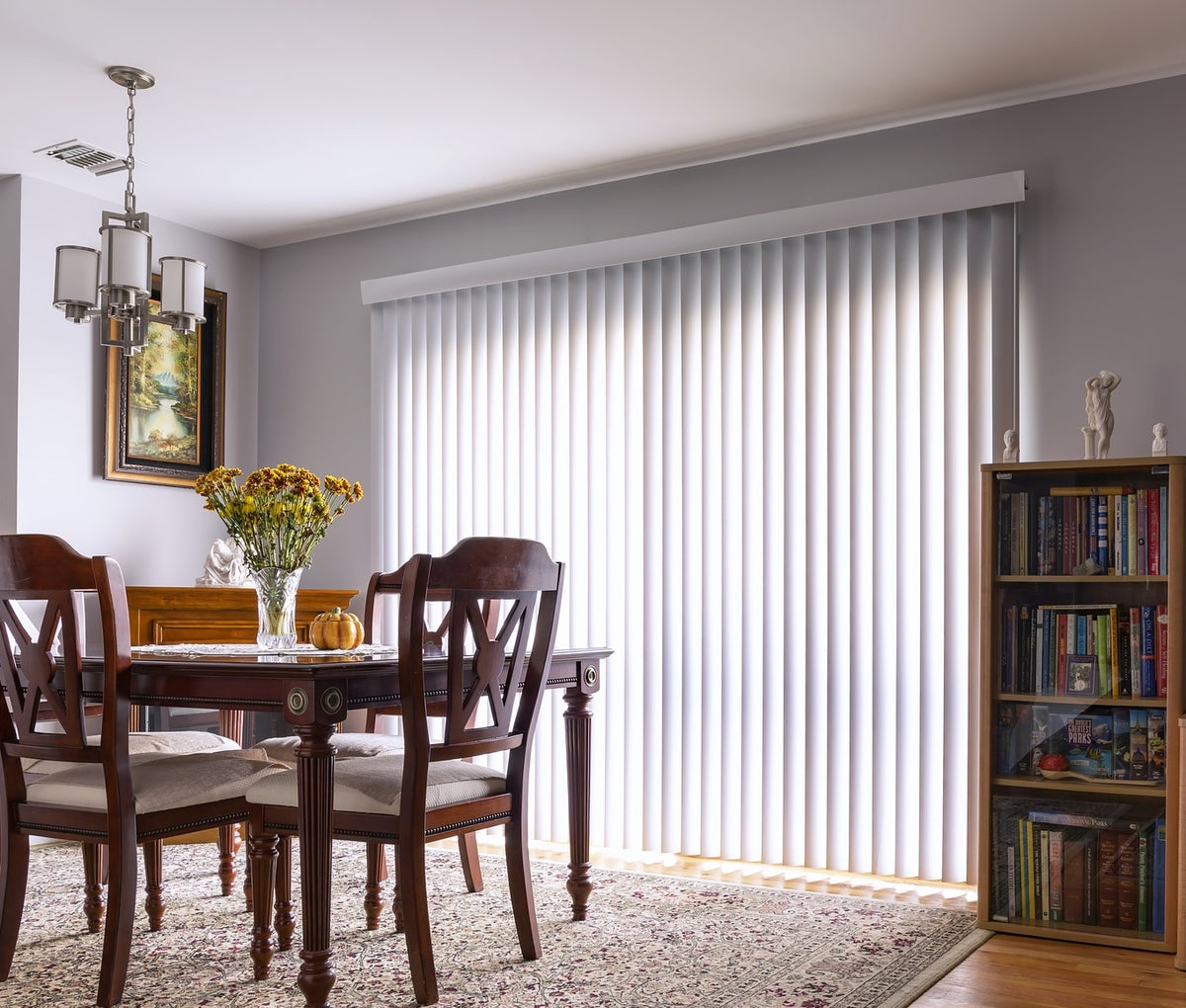 Vertical blinds and furniture and rug