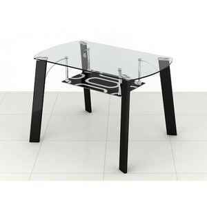 modern glass top dining table with under shelf