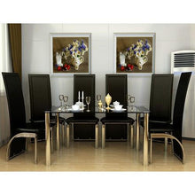 six seat dining set black