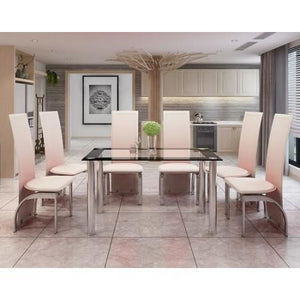 six seat dining set cream