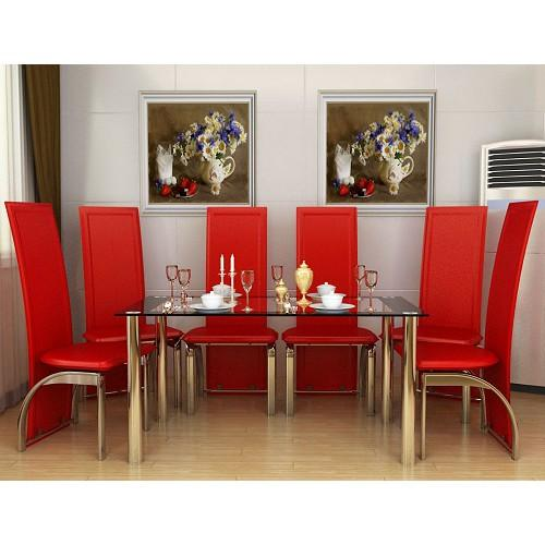 six seat dining set red