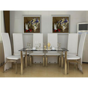 six seat dining set white