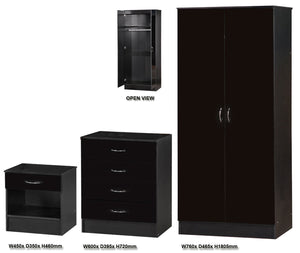 Black Gloss Three Piece Bedroom Set