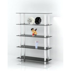 display stand unit with glass shelves and stainless steel legs