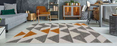 ginger and grey contemporary rug