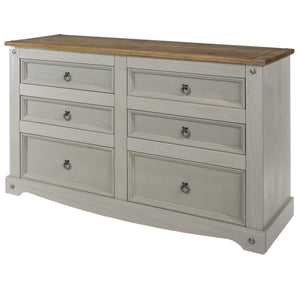 grey corona 3+3 chest of drawers angled