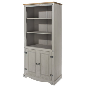 grey wooden bookcase angled