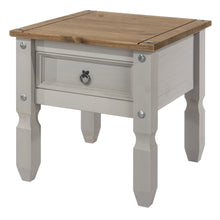 grey wooden lamp table