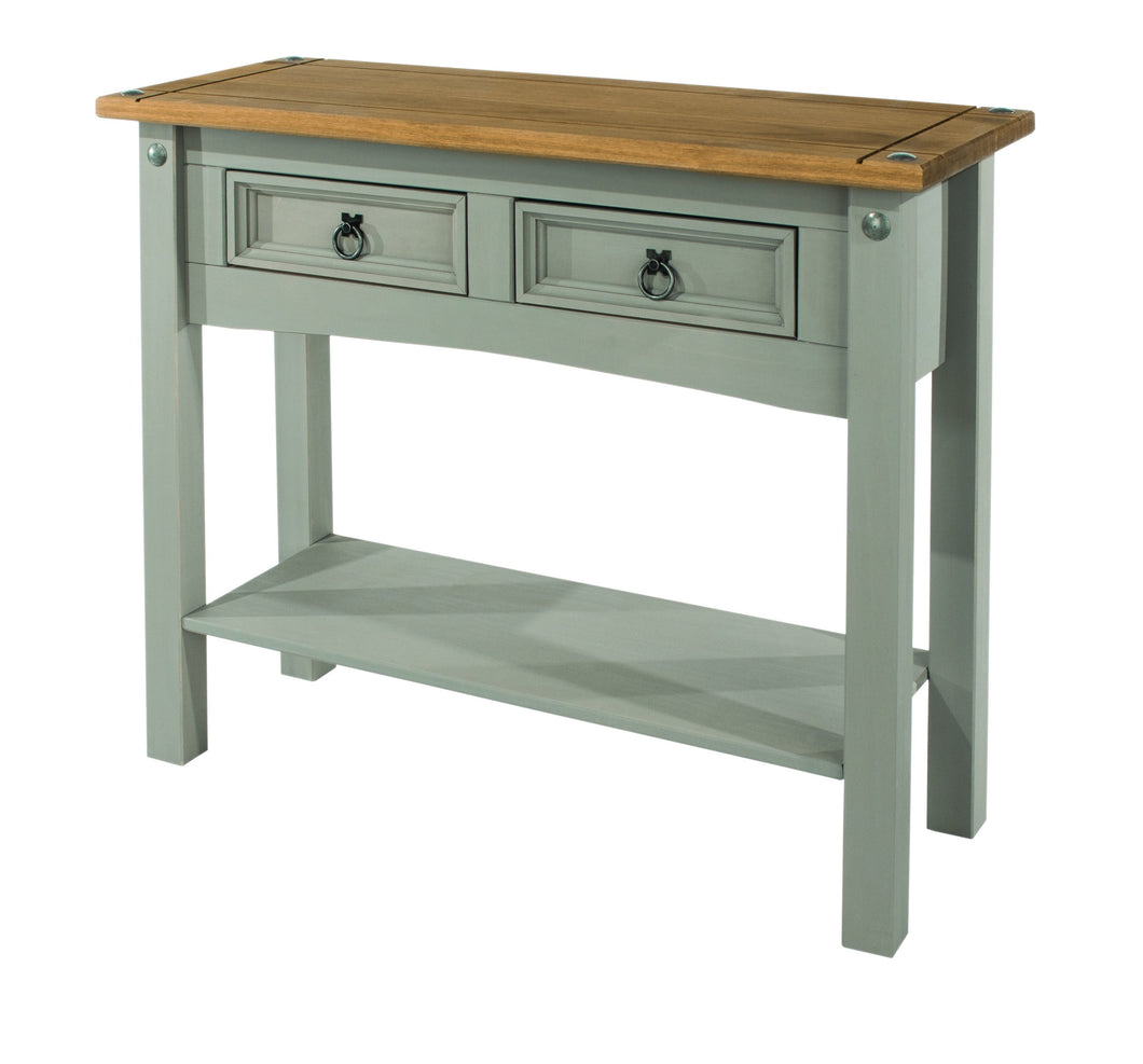grey double drawer wooden hallway table
