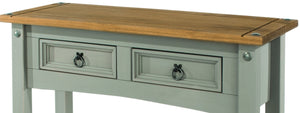 grey double drawer wooden hallway table drawers