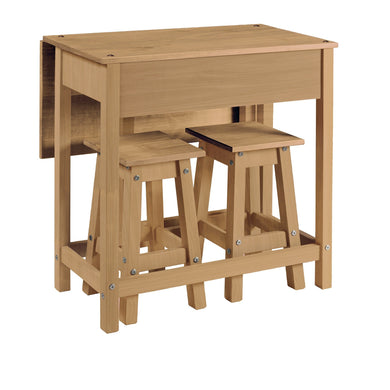 Corona Drop Leaf Table And Stools, corona, dining, dining set, furniture, mexican pine, natural pine, solid wood, wood, uk