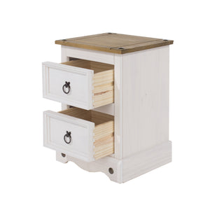 White Corona Wooden Double Drawer Bedside Cabinet