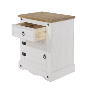 White Corona Wooden Single Drawer And Door Bedside Cabinet
