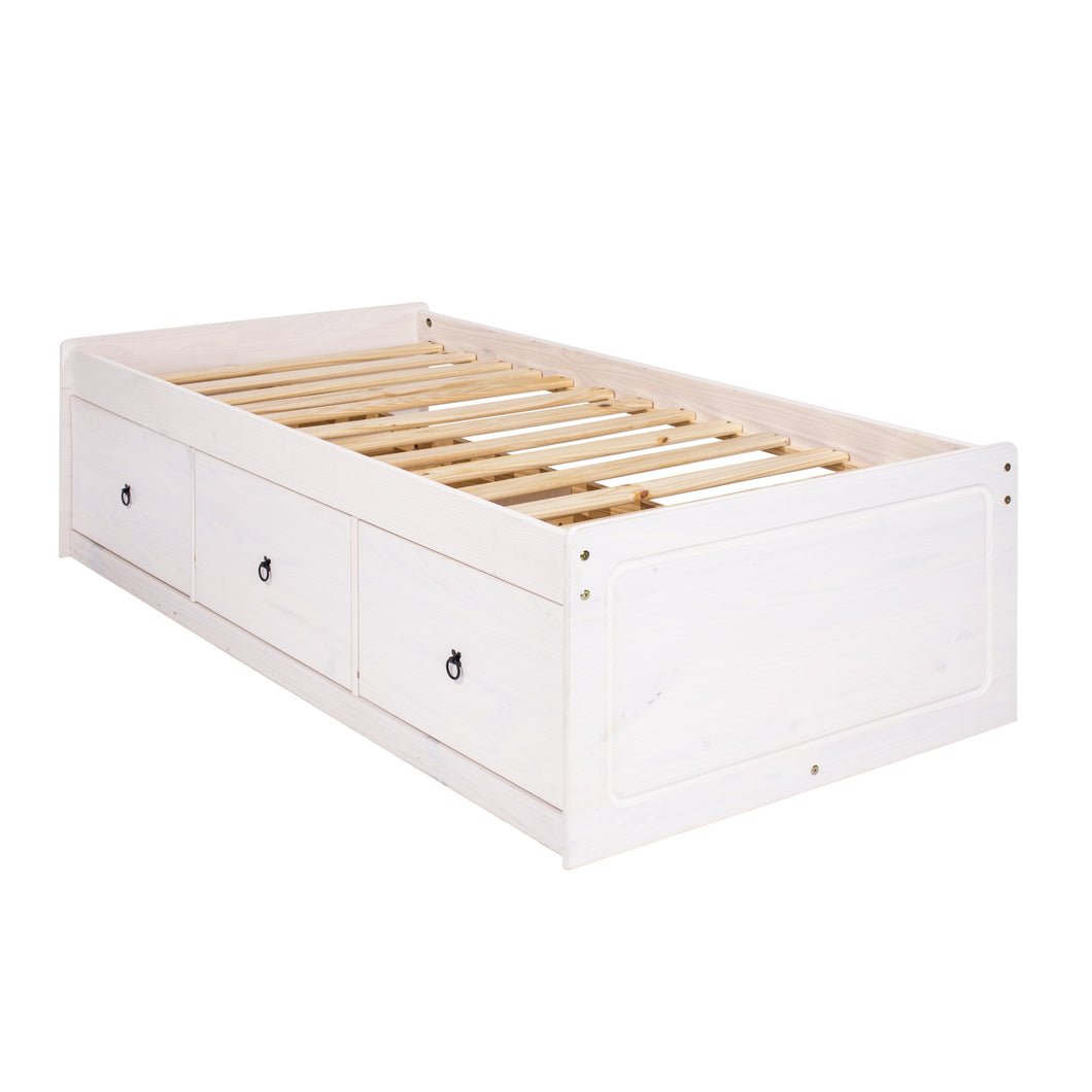 white wooden bed
