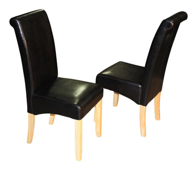 Two Scroll Back Faux Leather Dining Chairs