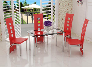 Four Seat Contemporary Dining Set red modern