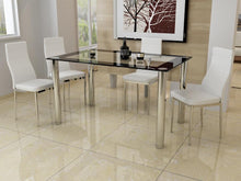 Dining Set With Four Faux Leather Chairs