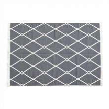 Dark Grey and White Triangle Patterned Rug with Tassels