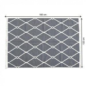 Dark Grey and White Triangle Patterned Rug with Tassels size