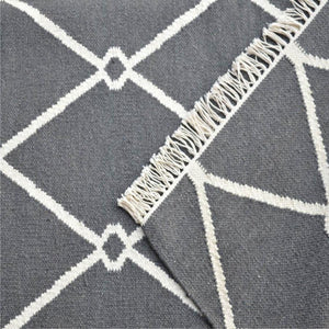 Dark Grey and White Triangle Patterned Rug Tassels