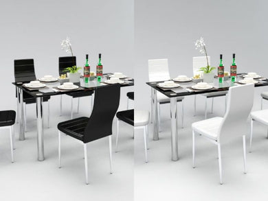 Dining Set With Six Faux Leather Chairs
