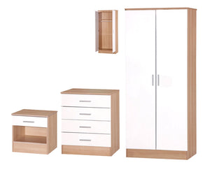 White & Oak Style Three Piece Bedroom Set