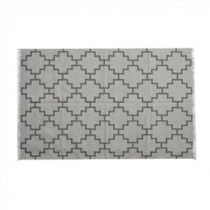 Large Grey rug Geometric Pattern with Tassels