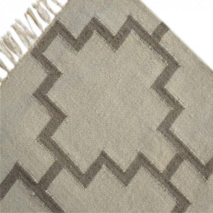 Large Grey Geometric Pattern with Tassels