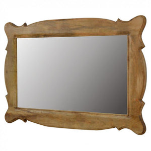 Hand Carved Oblong Wooden Mirror