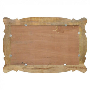 Hand Carved Oblong Wooden Mirror rear
