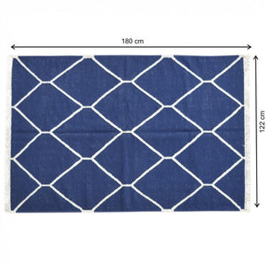 Navy Net Pattern Rug 122 x 180
