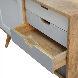Nordic Sliding Cabinet with 4 Drawers open drawers