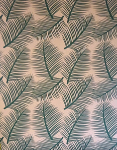 the room alive green on blush wallpaper close up
