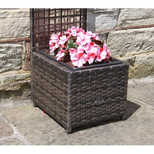 rattan trellis planter brown