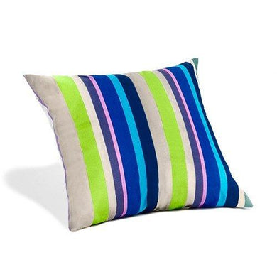 Water Resistant Cushion Green Blue Stripe