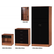 Black Gloss & Walnut Three Piece Bedroom Set