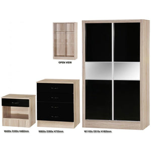 Black Gloss and Oak Three Piece Bedroom Set (Sliding Door)